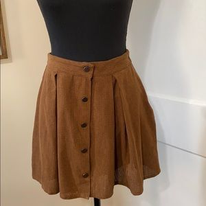 Brown tan colored suede button mini skirt size S